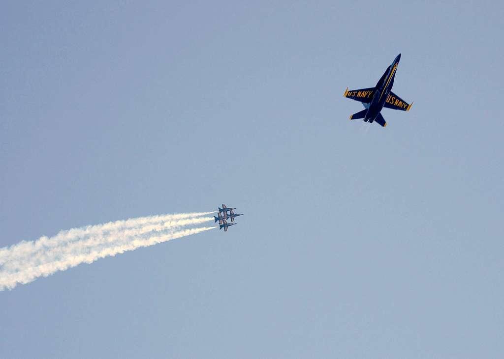 Navy Blue Angels perform aerial maneuvers