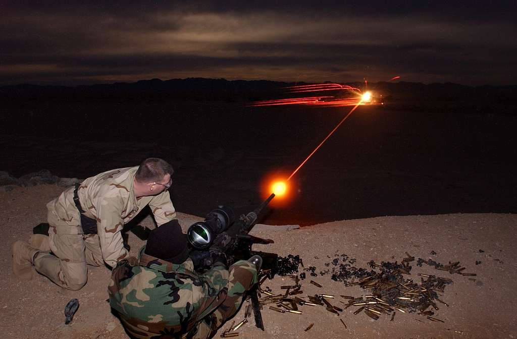 Naval special warfare members test the capabilities of a new night vision target system.