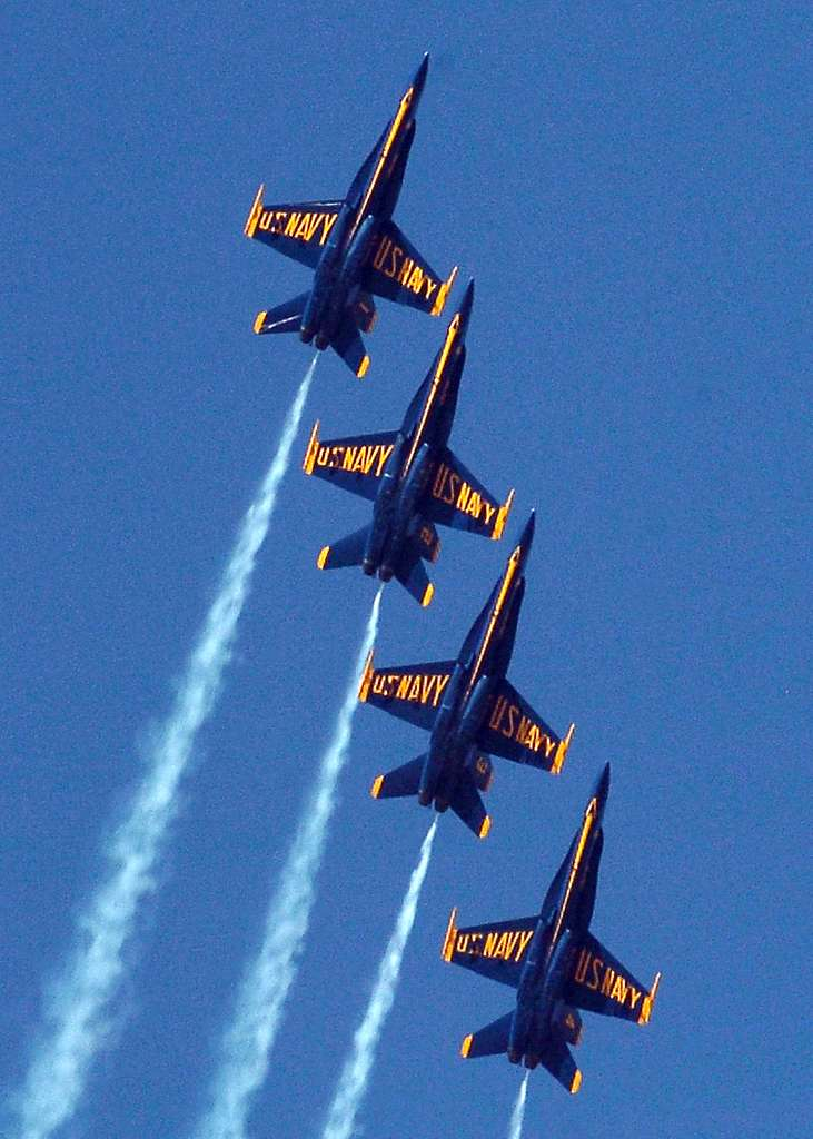 Four F/A-18A Hornets, assigned to the U.S. Navy flight demonstration team, the Blue Angels, fly in formation in front of more than one thousand spectators during the Naval Air Facility El Centro's 2005 Air Show.