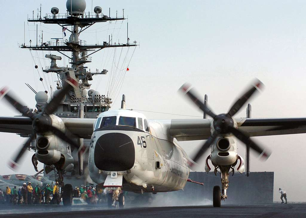 A C-2A Greyhound assigned to the Rawhides of Fleet Logistics Support Squadron Four Zero (VRC-40), launches from one of four steam powered catapults on the flight deck aboard the Nimitz-class aircraft carrier USS Harry S. Truman (CVN 75).