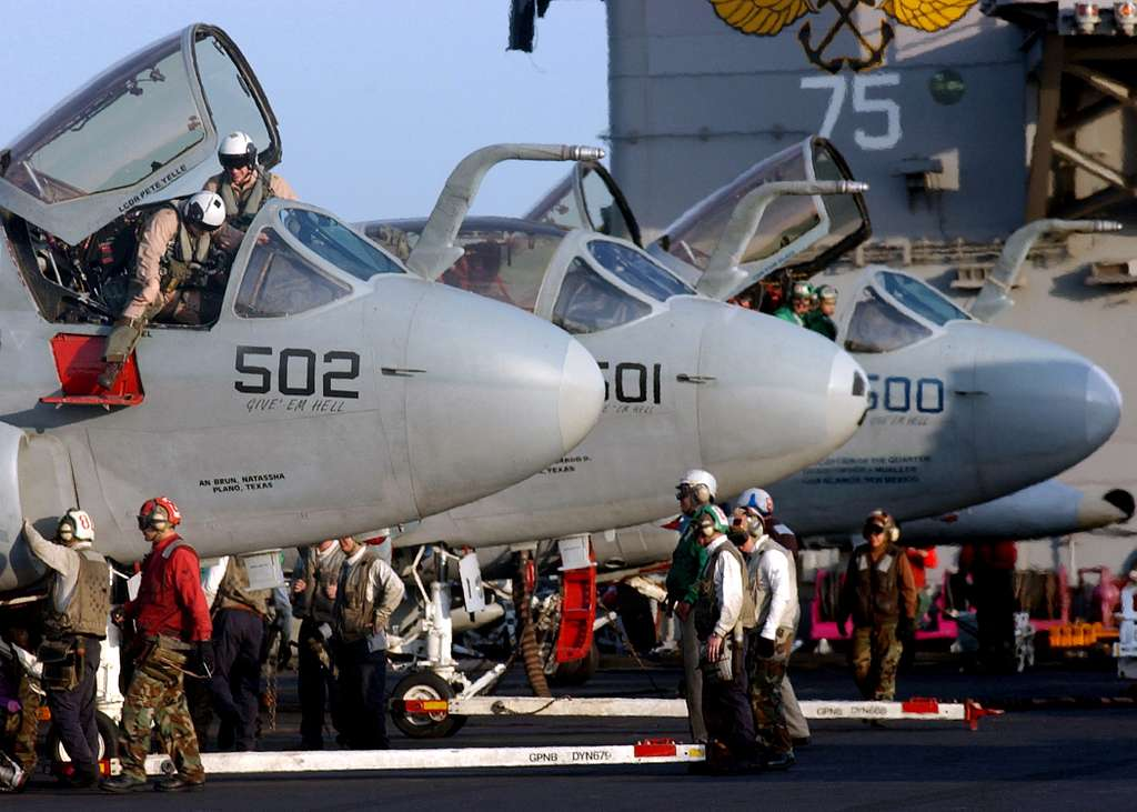 EA-6B Prowlers prepare for flight operations aboard the Nimitz-class aircraft carrier USS Harry S. Truman (CVN 75).