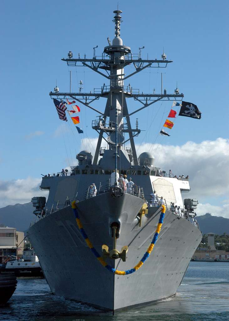 he Arleigh Burke-class guided missile destroyer USS Hopper (DDG 70) and her crew of more than 325 Sailors, returns to Pearl Harbor, Hawaii, following a six-month deployment in support of the Global War on Terrorism.