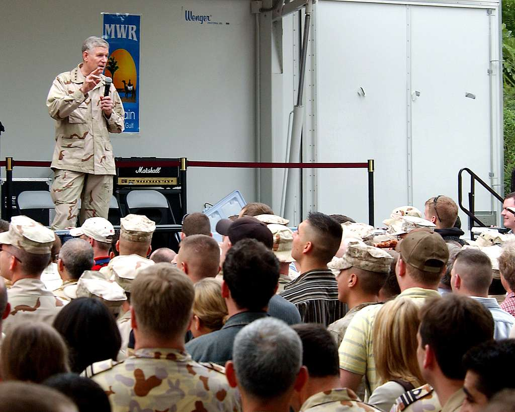 Chairman of the Joint Chiefs of Staff Gen. Richard B. Myers speaks with Sailors and Marines on board Naval Support Activity (NSA) Bahrain.