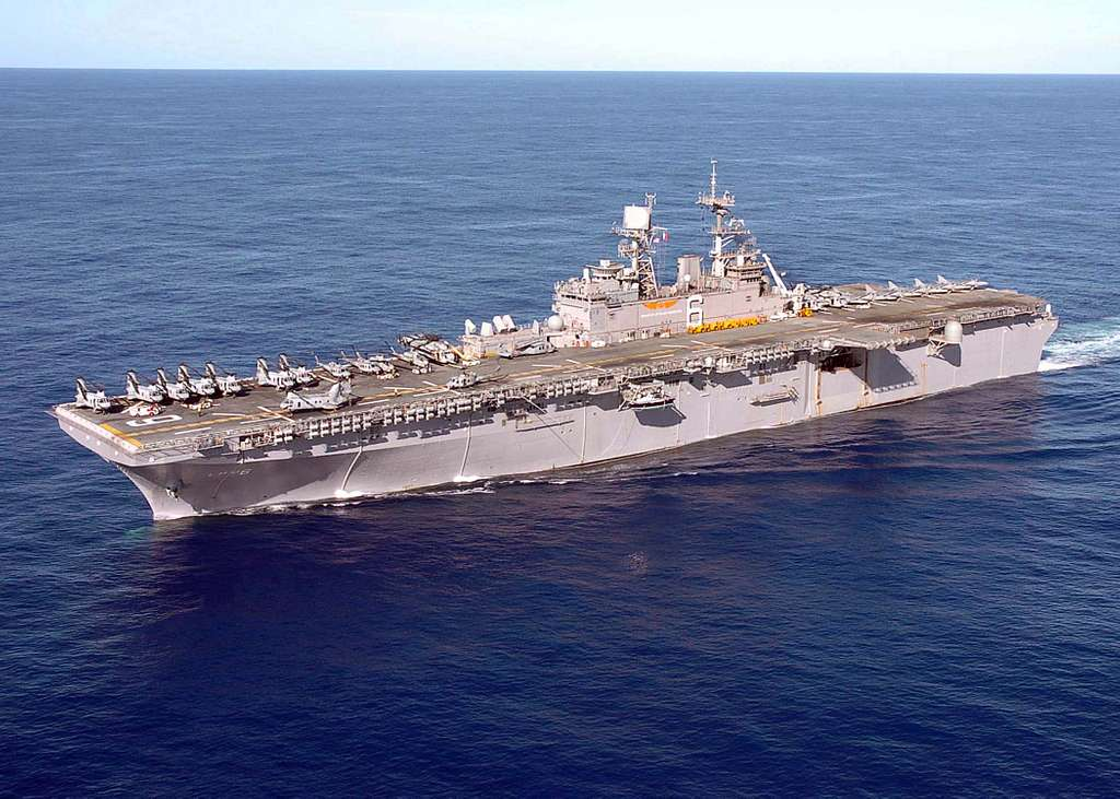 The amphibious assault ship USS Bonhomme Richard (LHD 6) underway in the waters of Western Pacific Ocean.