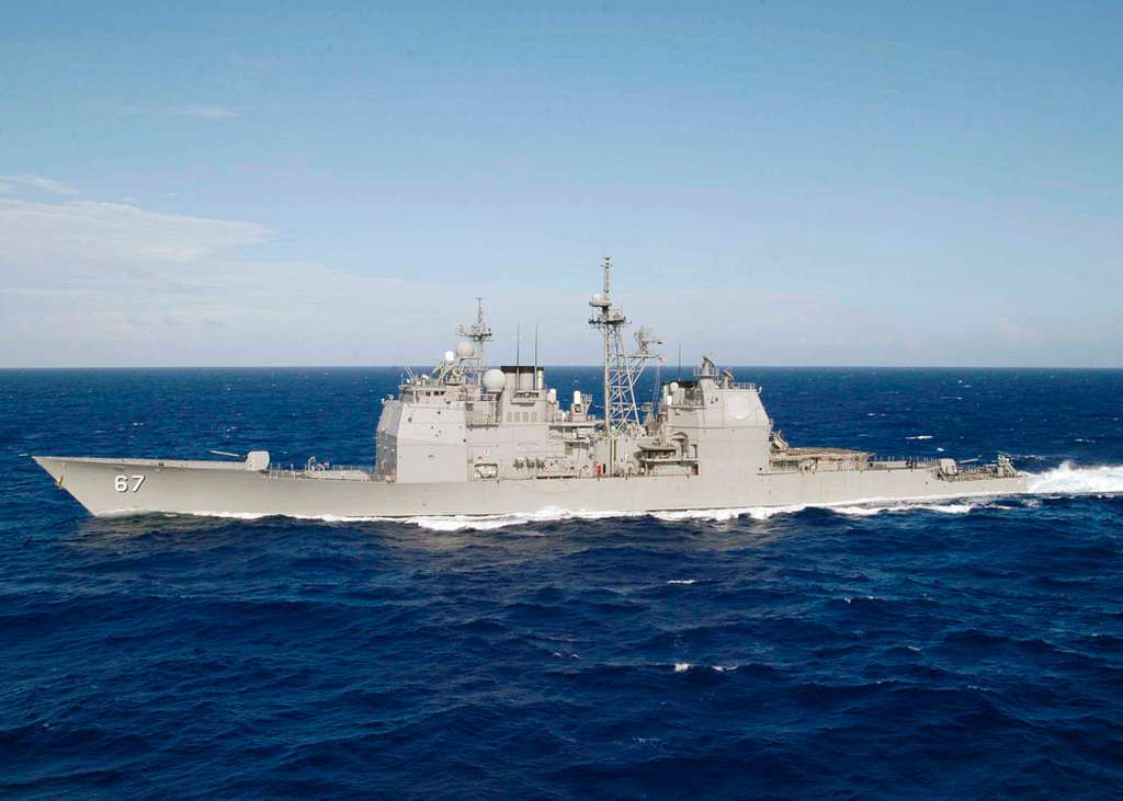 The guided missile cruiser USS Shiloh (CG 67) underway in the Western Pacific Ocean.