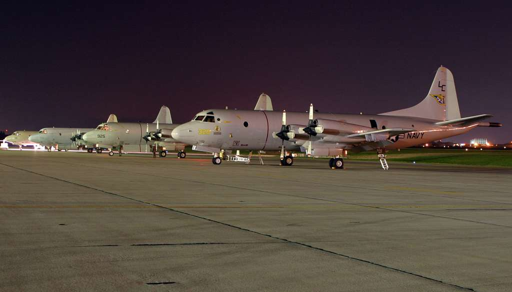 P-3C Orion aircraft sits on the flight line at Kadena Air Force Base, Japan prior to a mission.