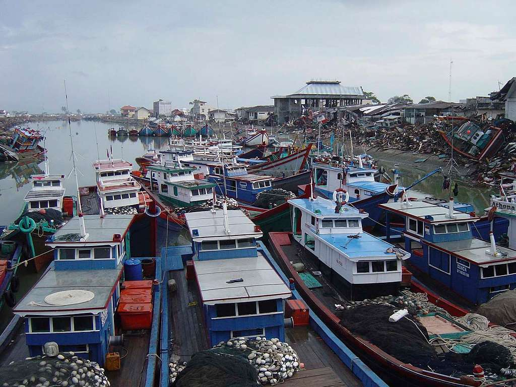 Boats were clustered and washed ashore near down town Aceh, Sumatra following a massive Tsunami that struck the area on the 26th of December 2004.