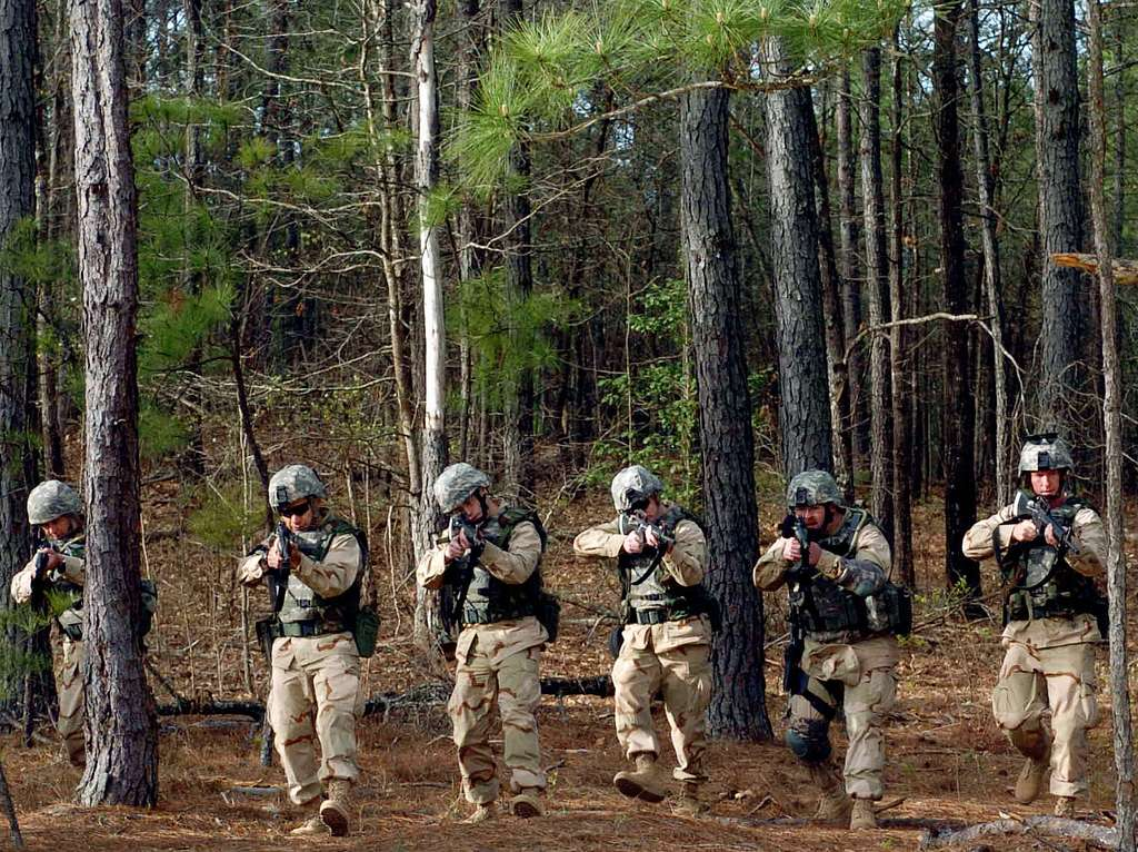 Sailors conduct patrol and troop leading operations during the Navy's Individual Augmentee Combat Training at Fort Jackson S.C.