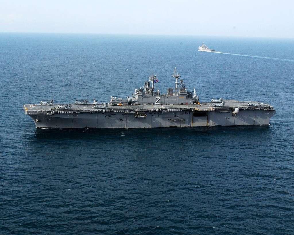 The forward-deployed amphibious ship USS Essex (LHD 2) steams through the Andaman Sea.