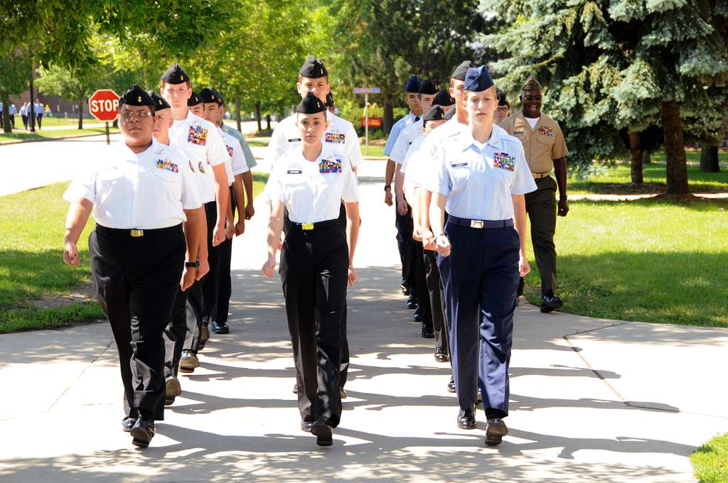 Junior Reserve Officers Training Corps (JROTC) cadets march in formation at Naval Station Great Lakes.