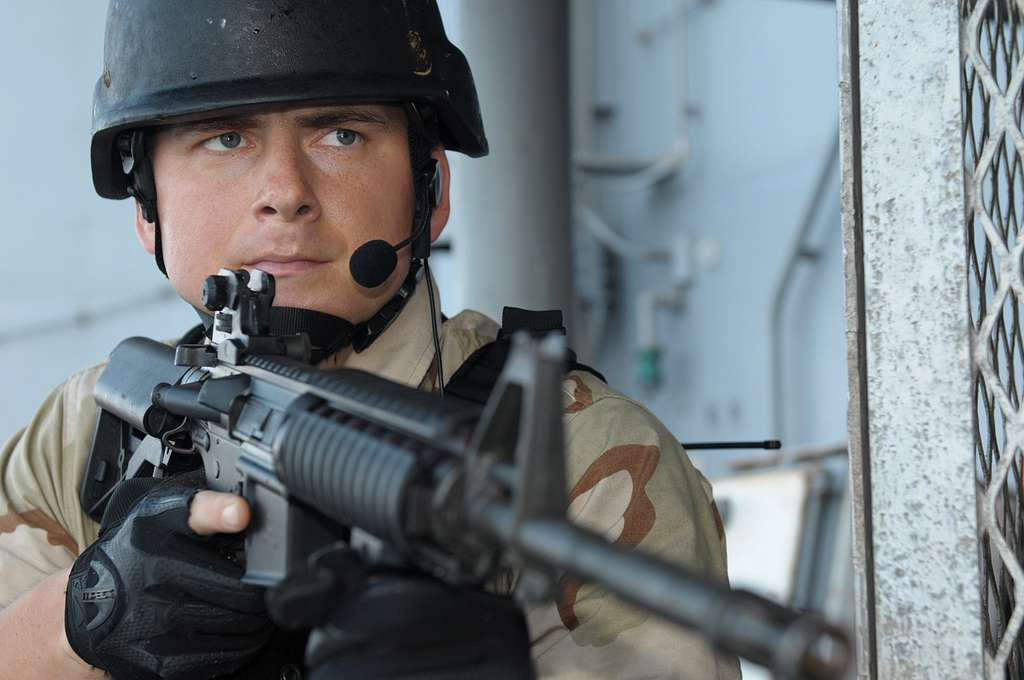 Sonar Technician Surface 2nd Class Roger Byassee provides security during a training evolution.