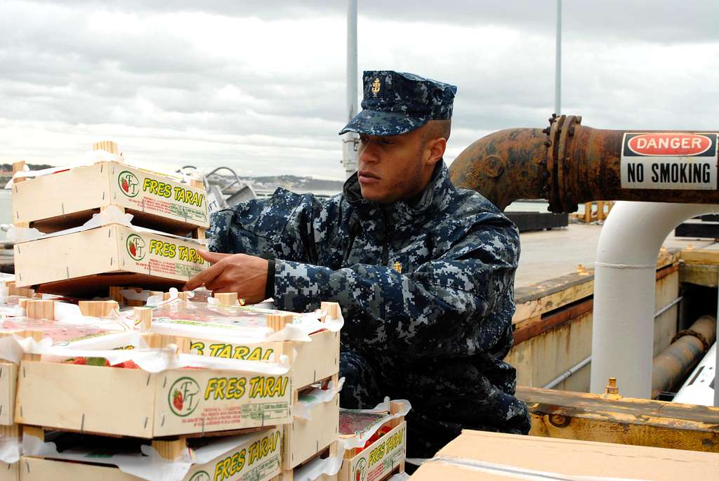 Chief Hospital Corpsman Jolando Lightner inspects fruit before the crew moves pallets of frozen food, fresh produce and other supplies aboard USS Mesa Verde (LPD 19).