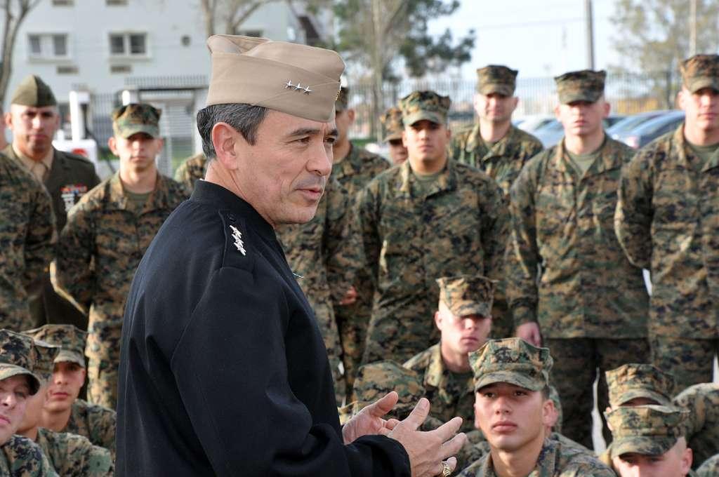Vice Adm. Harry B. Harris Jr., commander of U.S. 6th Fleet, talks with Marines assigned to Fleet Anti-Terrorism Security Team (FAST), Company Europe, at Naval Station Rota.