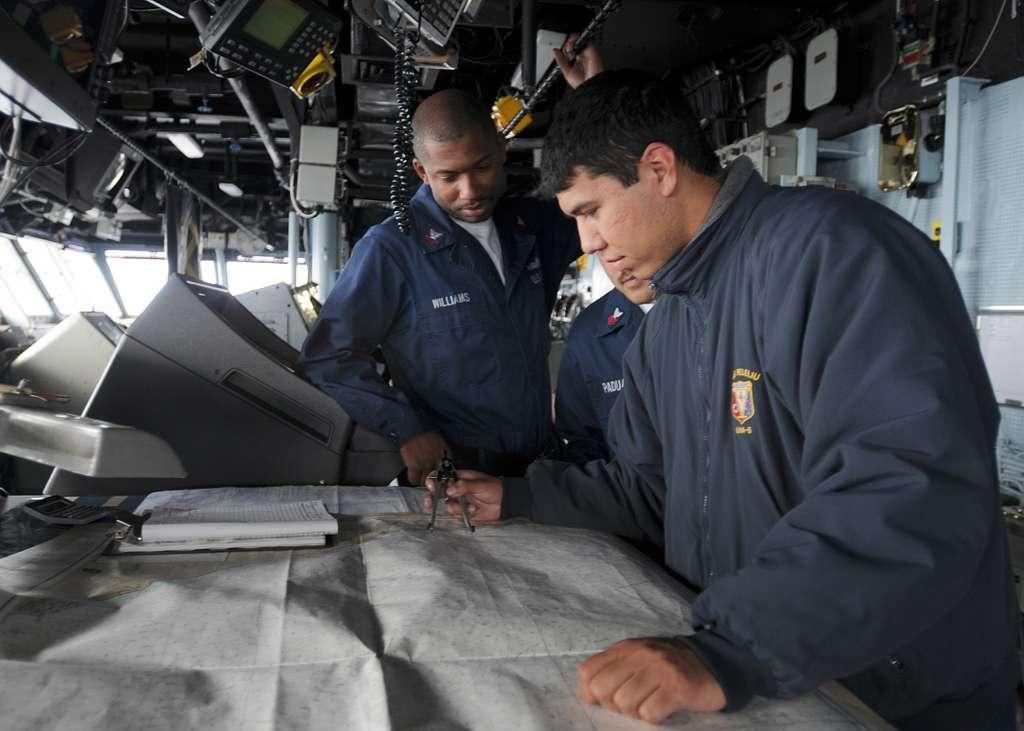 Quartermaster Seaman Christopher Garcia and Quartermaster 2nd Class Brodie Williams