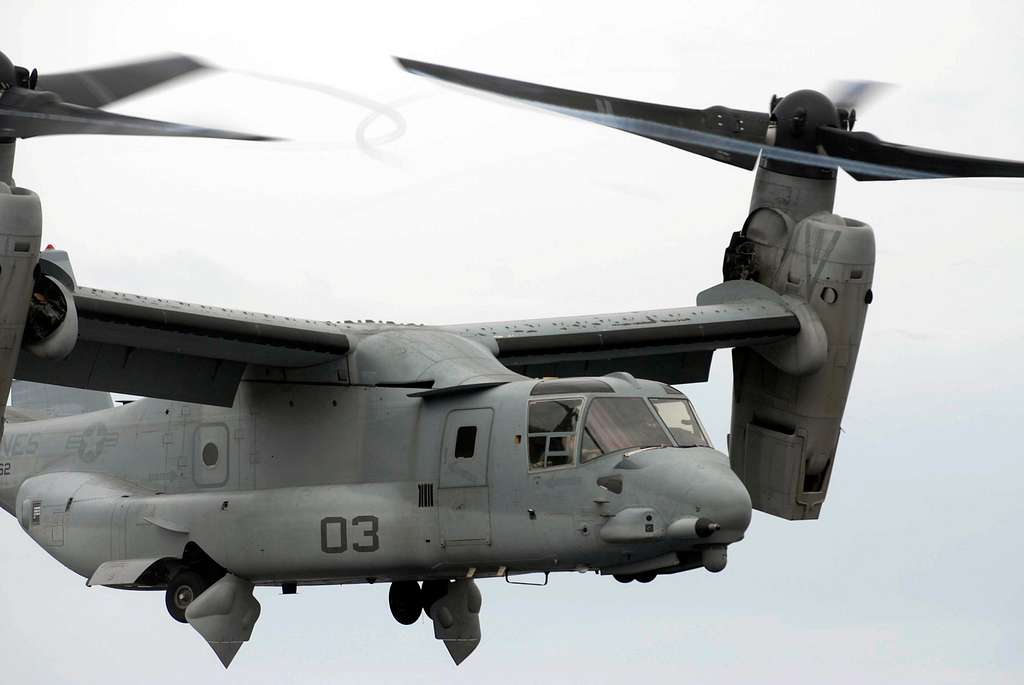 An MV-22B Osprey assigned to the Golden Eagles of Marine Medium Tiltrotor Squadron (VMM) 162 takes off from the amphibious transport dock ship USS Mesa Verde (LPD 19).