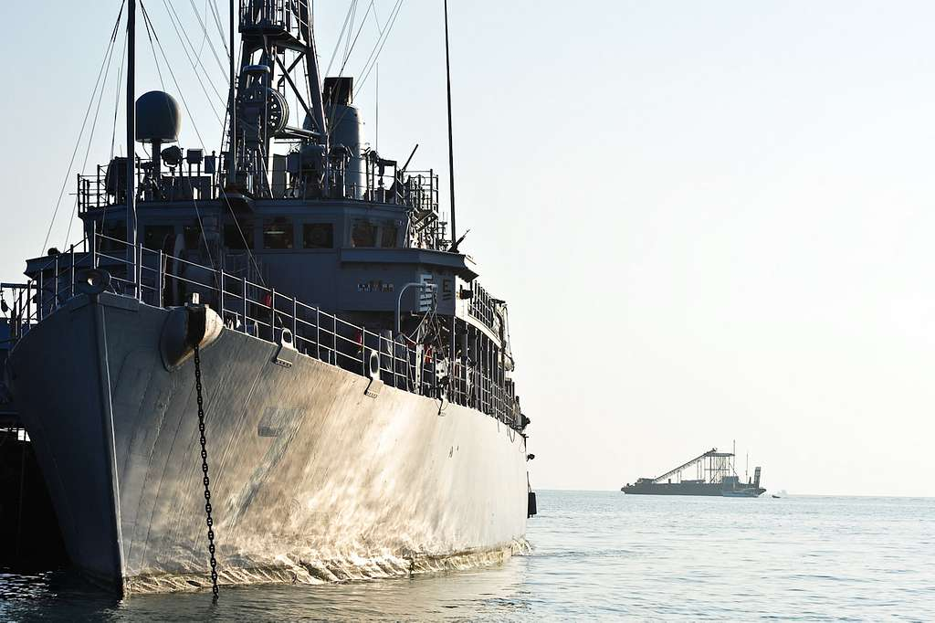 The mine counter-measures ship USS Patriot (MCM 7) is at anchor off the coast of Phuket, Thailand