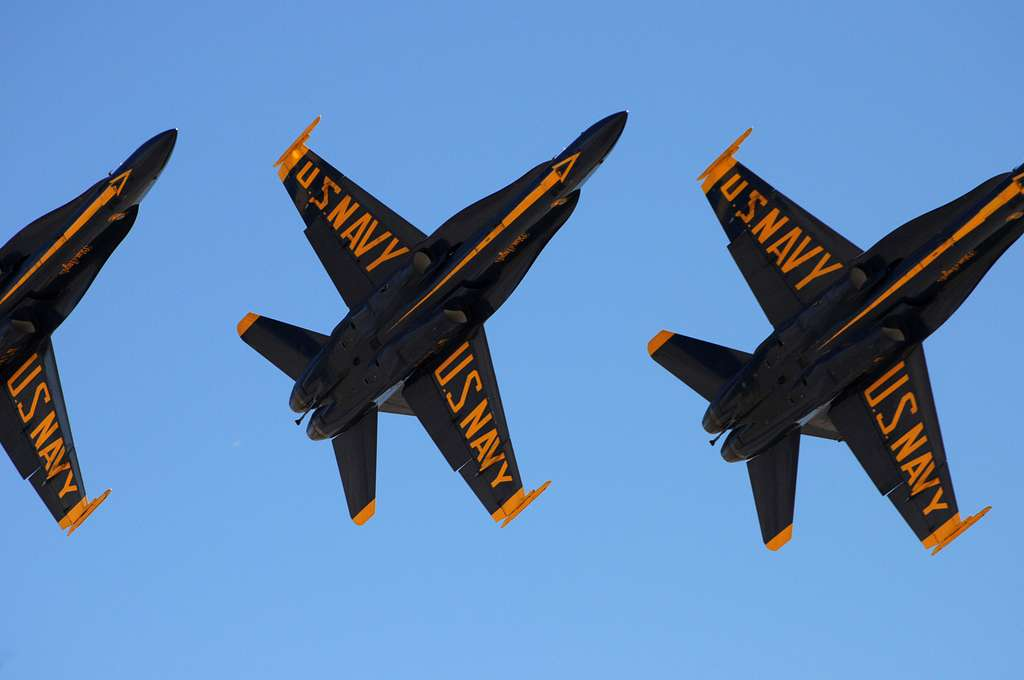 The Blue Angels fly in delta formation over Naval Air Facility El Centro during a practice show.