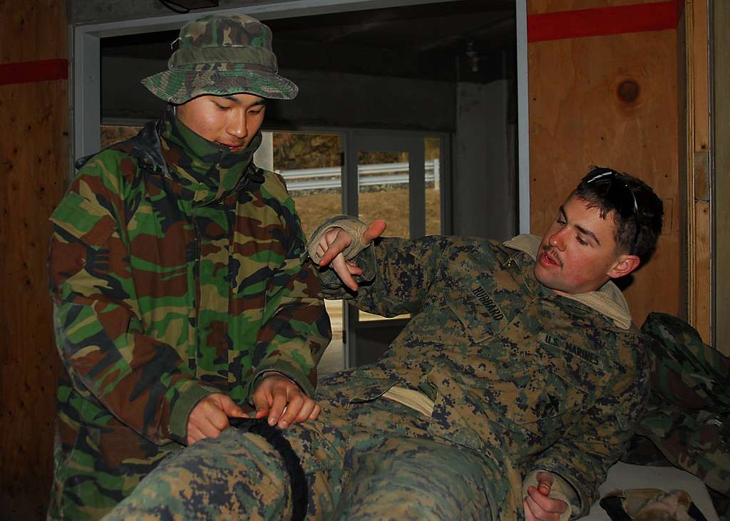 A Marine assigned to the 3rd Reconnaissance Battalion helps a Republic of Korea marine attach a tourniquet during medical training. The 3rd Reconnaissance Battalion, based in Okinawa, Japan, is in Korea to participate in Key Resolve/Foal Eagle 2010.