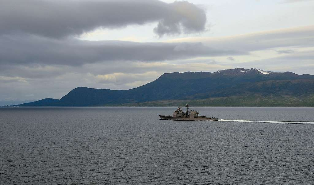 The guided-missile cruiser USS Bunker Hill (CG 52) transits the Strait of Magellan.