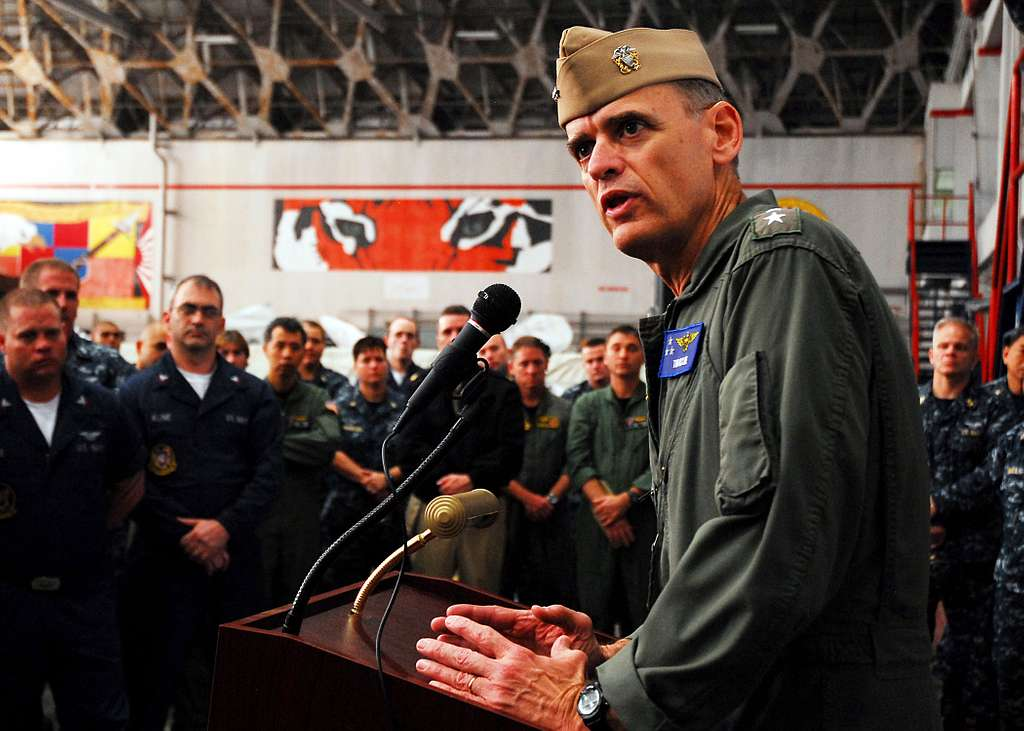 Vice Adm. Thomas J. Kilcline, commander of Naval Air Forces, speaks to Sailors from Task Group 72.2.