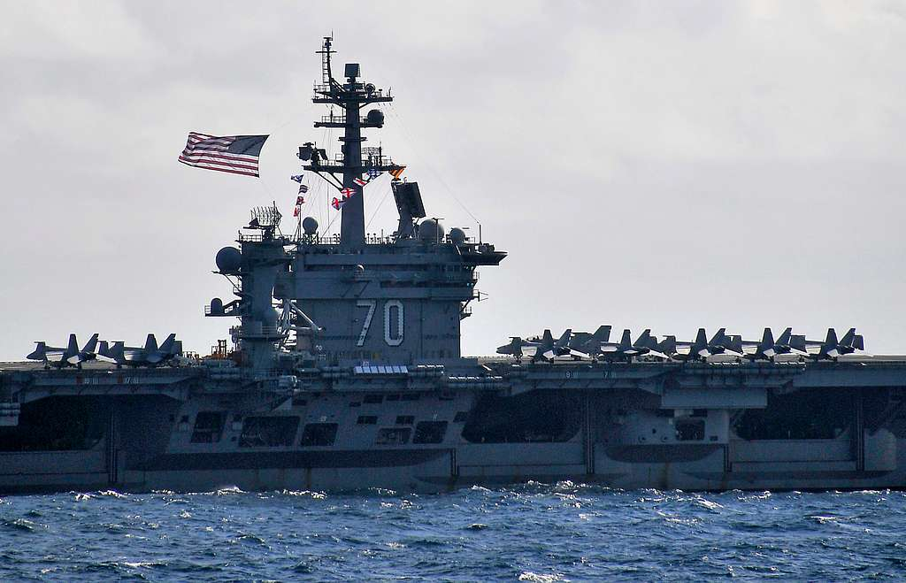 The Battle Ensign is flown aboard the Nimitz-class aircraft carrier USS Carl Vinson (CVN 70) during an exercise with the Peru navy.