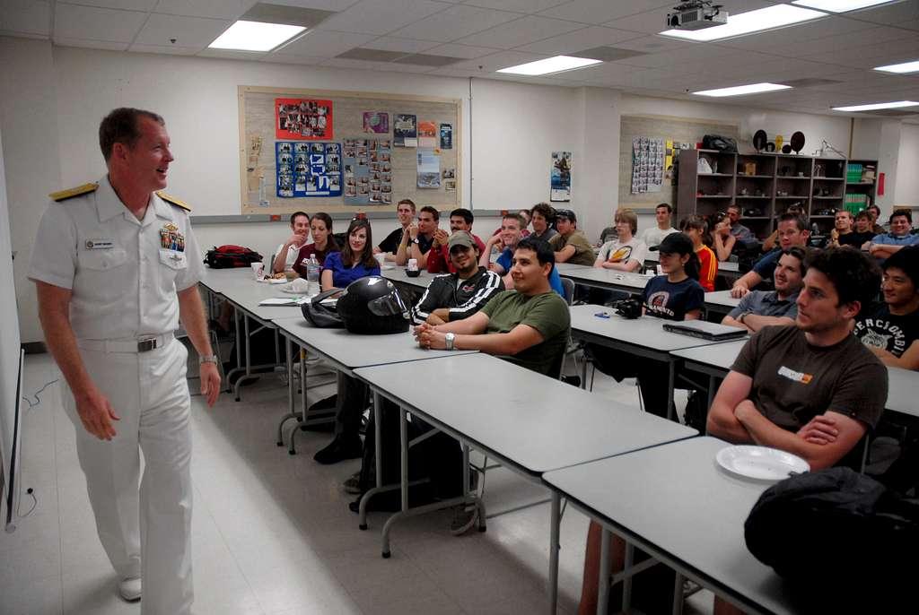 Rear Adm. Barry Bruner, commander of Submarine Group 10, talks to engineering students at Arizona State University during Phoenix Navy Week. Phoenix is one of 20 Navy Weeks planned across America for 2010.