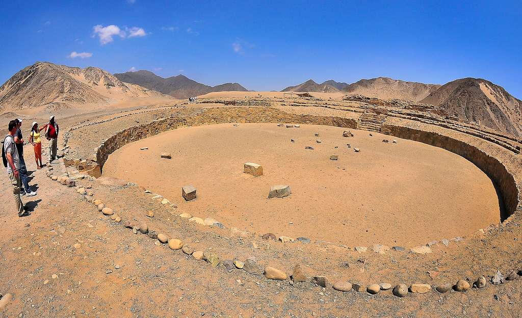 Sailors from USS Bunker Hill (CG 52) tour the ancient city of Caral.