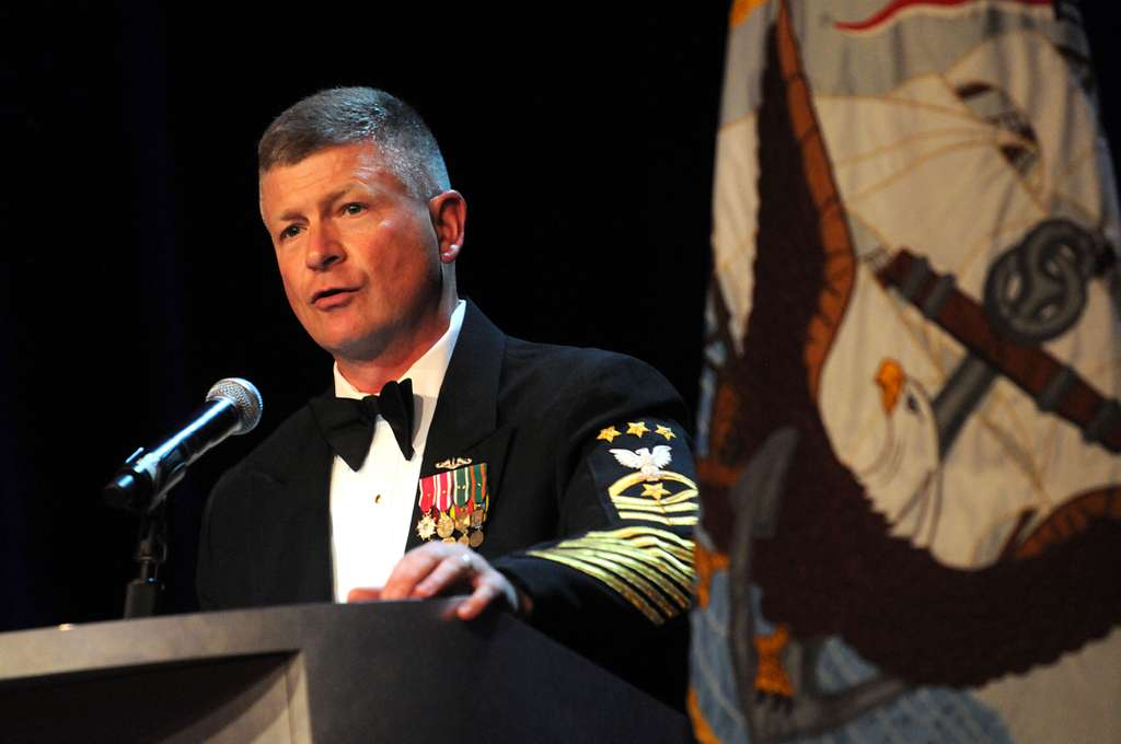 Master Chief Petty Officer of the Navy (MCPON) Rick West delivers remarks at the 110th Submarine Birthday Ball at the MGM Grand.