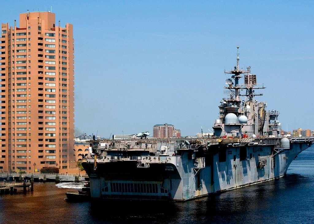USS Bataan (LHD 5) approaches BAE Systems Norfolk Ship Repair Facility.