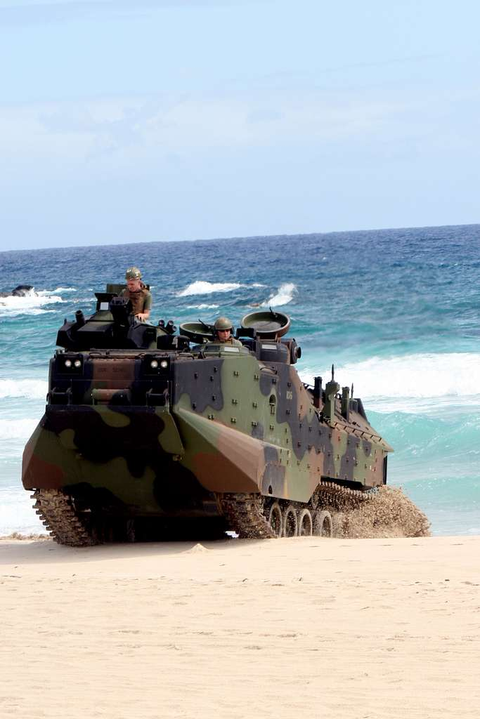 A Marine amphibious assault vehicle transitions ashore during a mechanized raid rehearsal on Pyramid Rock Beach at Marine Corps Base Hawaii during Rim of the Pacific (RIMPAC) 2010 exercises.