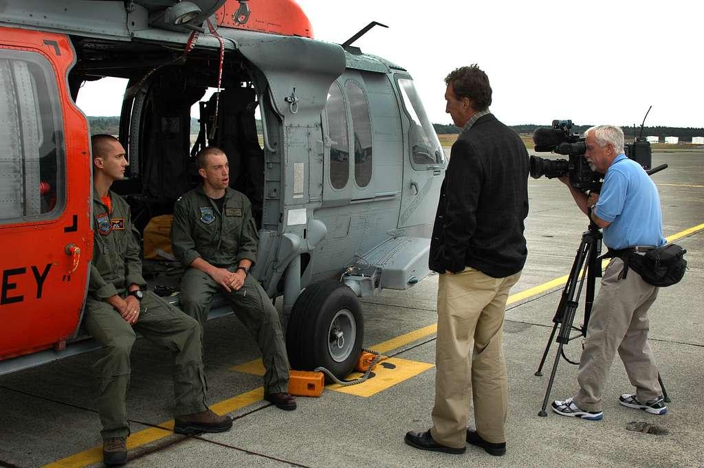 Seattle KING 5 TV News (NBC) reporter Gary Chittum interviews Hospital Corpsman 2nd Class Richmond