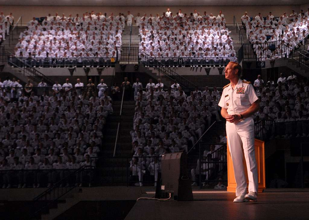 Vice Adm. Mike Miller addresses the Brigade of Midshipmen at a Superintendent's call in Alumni Hall on the campus of the U.S. Naval Academy.
