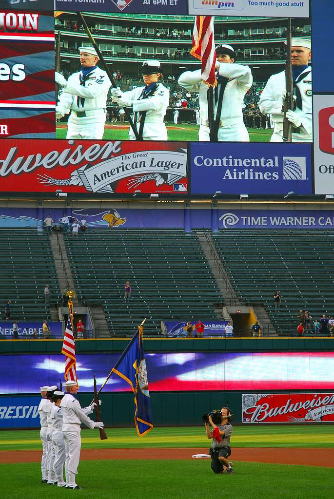 Sailors from Naval Recruiting District Ohio perform a Colors ceremony during the Cleveland Indians vs. Chicago White Sox baseball game.