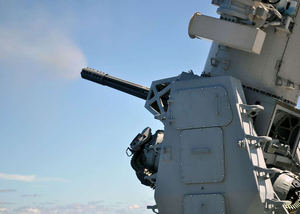 he amphibious transport dock ship USS Denver (LPD 9) conducts a Close-In Weapon System (CIWS) pre-aim calibration fire exercise.