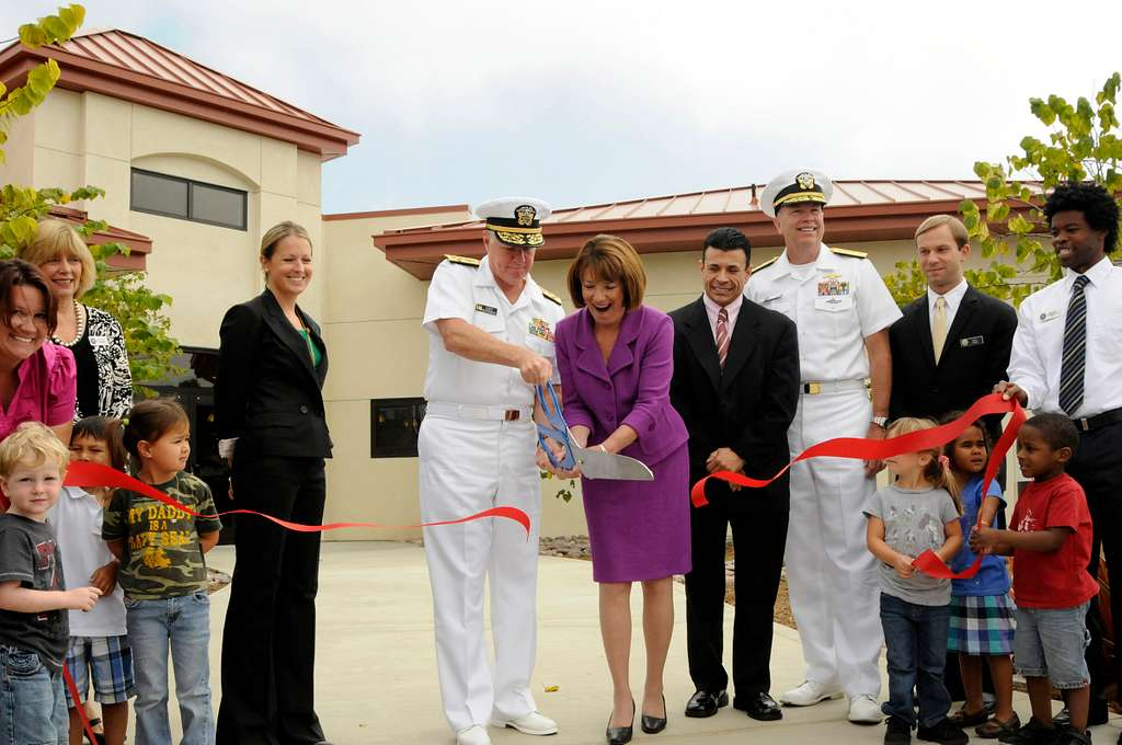 Chief of Naval Operations Adm. Gary Roughead and U.S. Rep. Susan Davis, officially open the new Child Development Center at Naval Base Coronado.