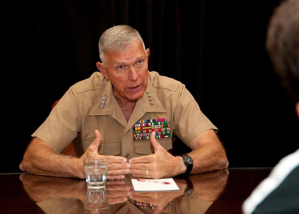 Gen. James T. Conway, Commandant of the Marine Corps, meets with the press after his presentation at this year's Expeditionary Warfare Conference.