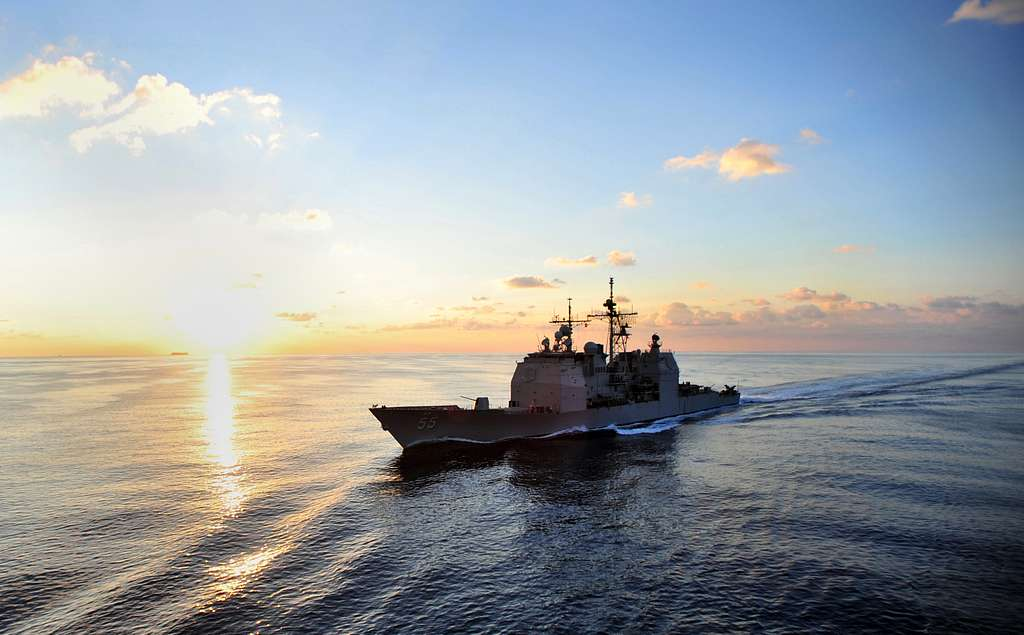The Ticonderoga-class guided-missile cruiser USS Leyte Gulf (CG 55) is underway in the Atlantic Ocean.