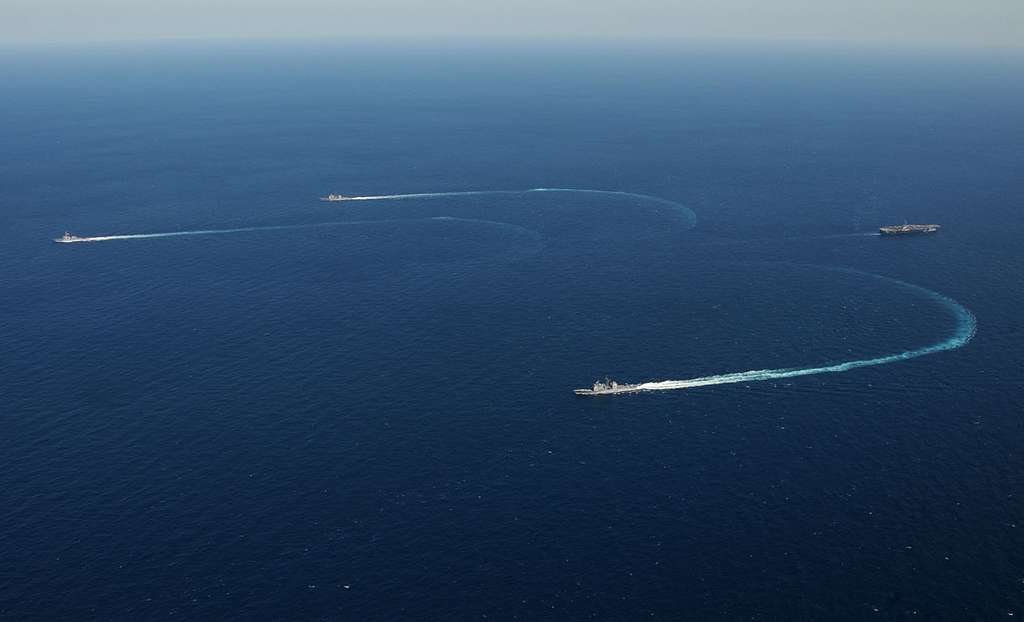 The aircraft carrier USS George H.W. Bush (CVN 77) participates in a group sail.