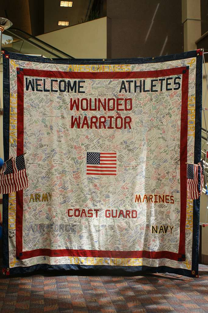 The 10-foot by 10-foot quilt welcoming wounded warrior athletes competing in the 2011 Warrior Games to Colorado Springs is on display in the Colorado Springs Airport.