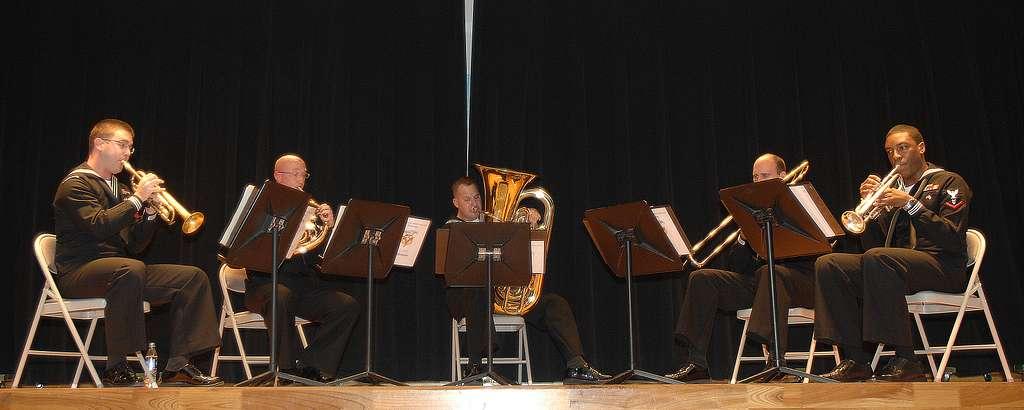 Members of the U.S. 7th Fleet Band ensemble,  Shonan Brass Quartet, perform for Misawa Air Base residents.