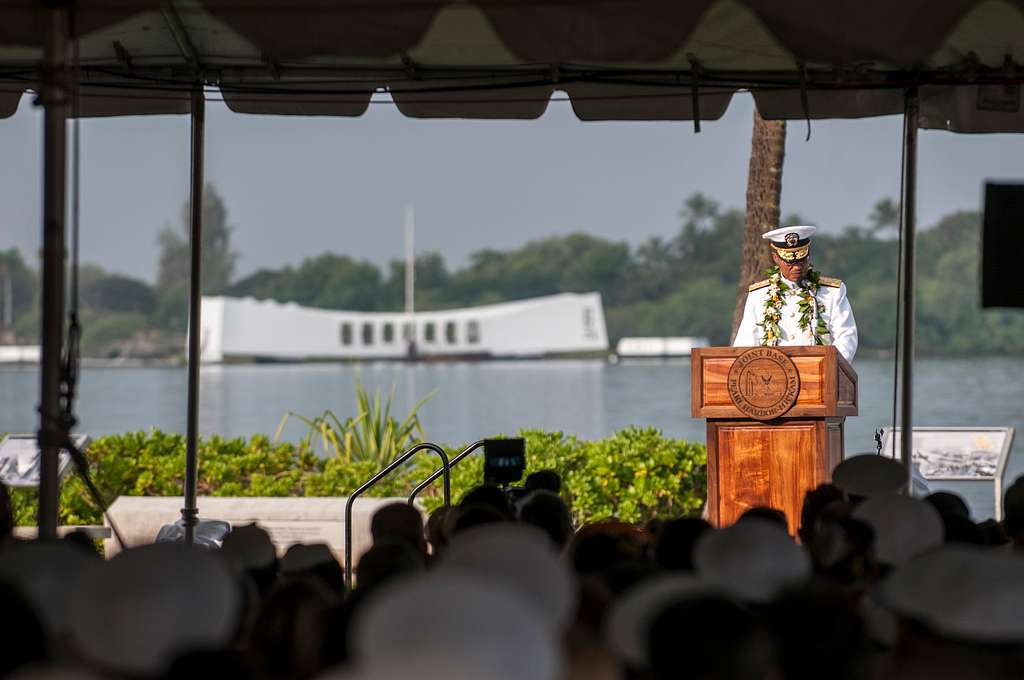 Adm. Cecil D. Haney, commander, U.S. Pacific Fleet, gives remarks at the 71st Anniversary Pearl Harbor Day Commemoration.