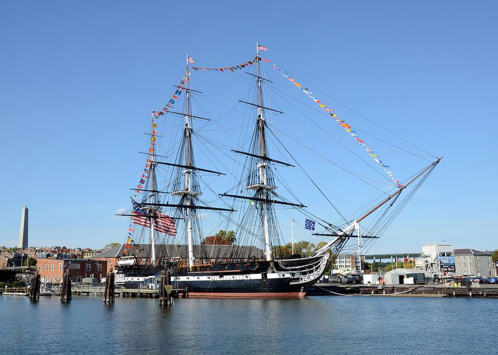 USS Constitution at full dress ship in its berth in Charlestown Navy Yard in celebration of the ship's 216th birthday.