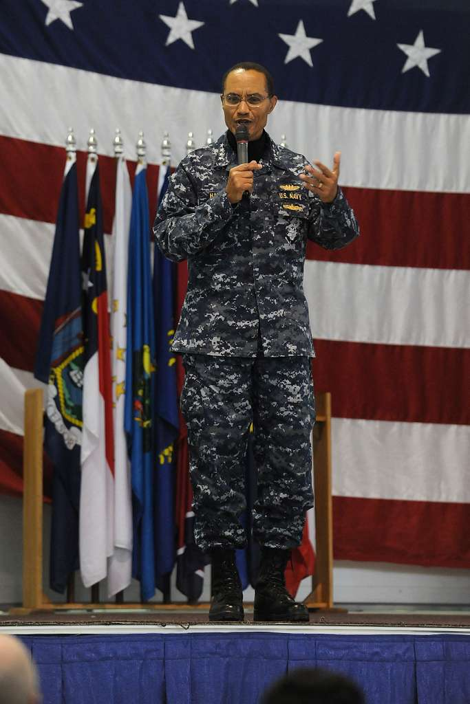 Adm. Cecil D. Haney, commander of U.S. Strategic Command, speaks to airmen with the 5th Bomb Wing and 91st Missile Wing at Minot Air Force Base, N.D.