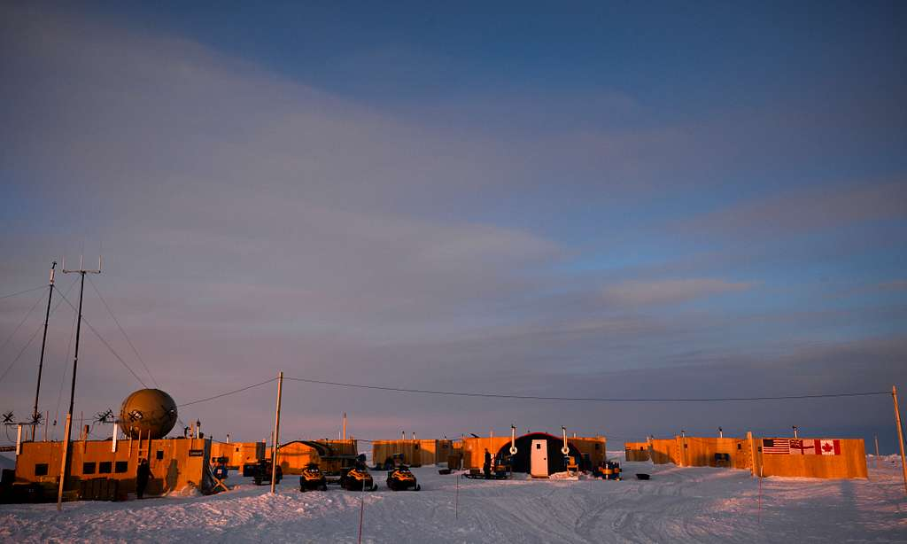 The view at sunset of Ice Camp Nautilus, located on a sheet of ice adrift on the Arctic Ocean, during Ice Exercise (ICEX) 2014.