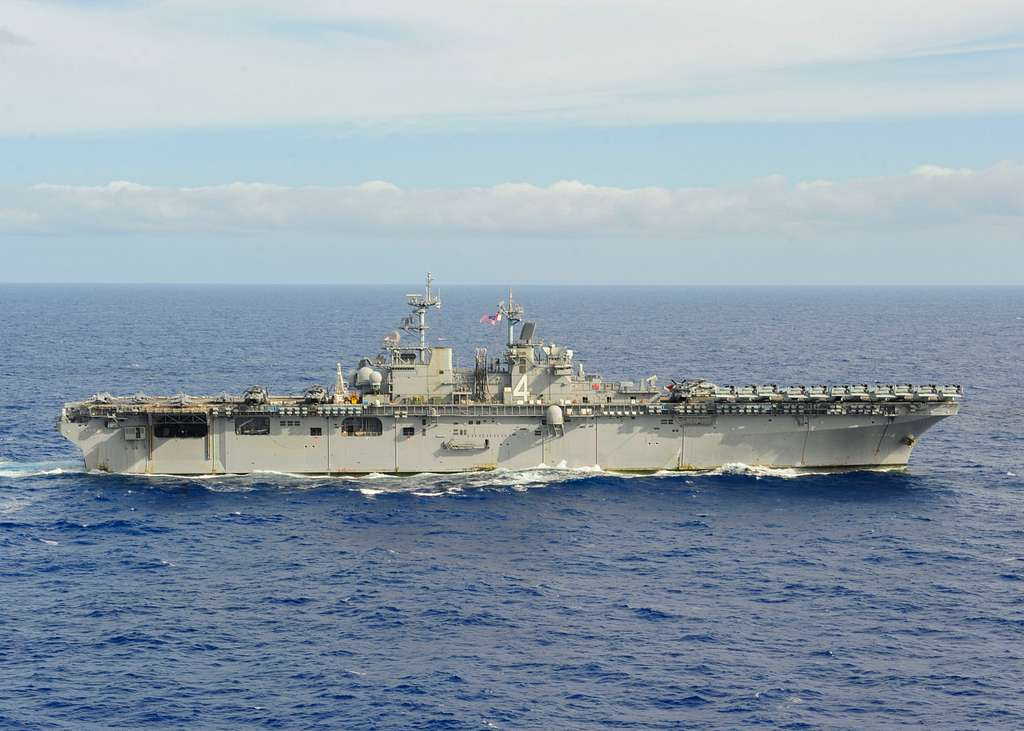 The amphibious assault ship USS Boxer (LHD 4), is underway in the Pacific Ocean.