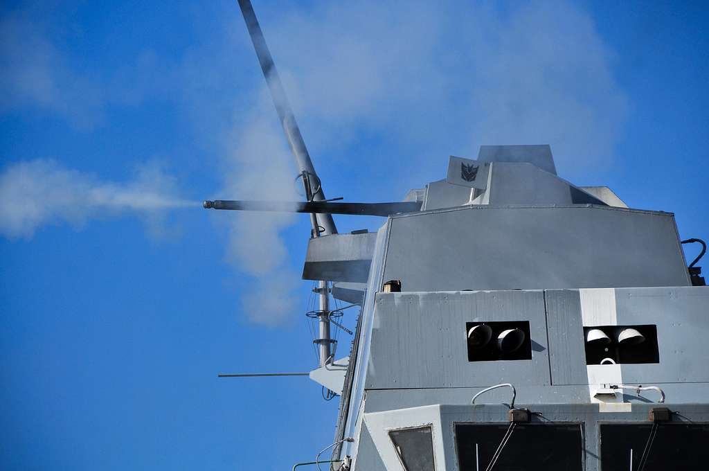 An MK46 30mm is fired during a live-fire exercise aboard the amphibious transport dock ship USS New Orleans (LPD 18).