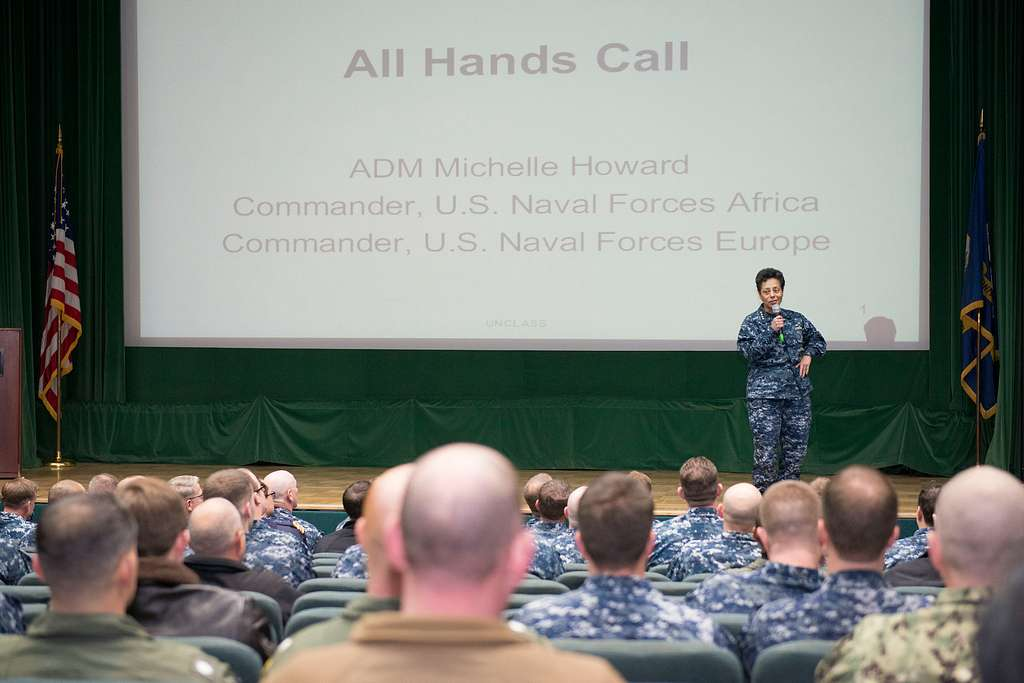 Commander, U.S. Naval Forces Europe-Africa Adm. Michelle Howard provides remarks at an all-hands call at Naval Support Activity Naples, Italy.