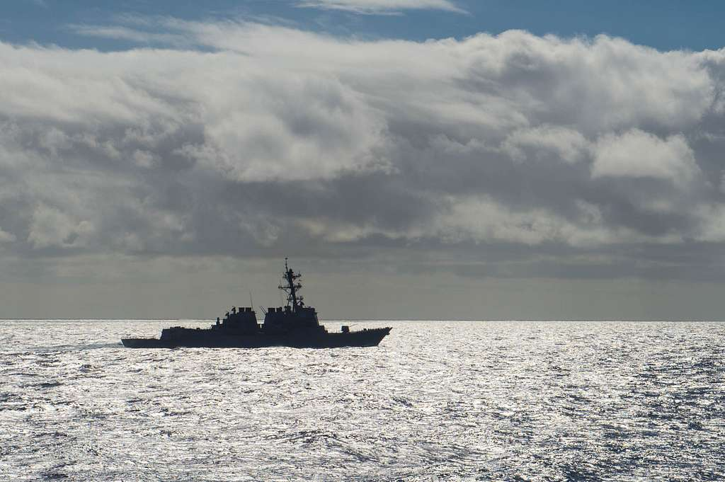 The forward-deployed Arleigh Burke-class guided-missile destroyer USS McCampbell (DDG 85) transits waters near Guam during Guam Exercise 2016.
