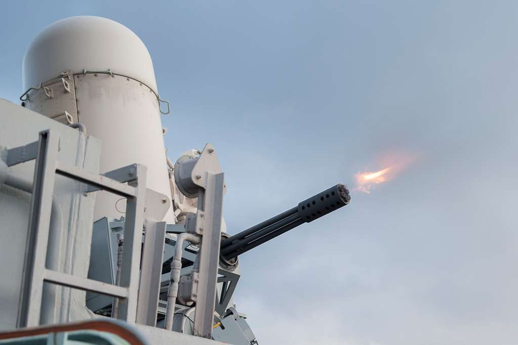 Fire Controlmen fire a MK15 Close-in Weapons System, or CIWS, during a Pre-action Aim Calibration Fire (PACFIRE).