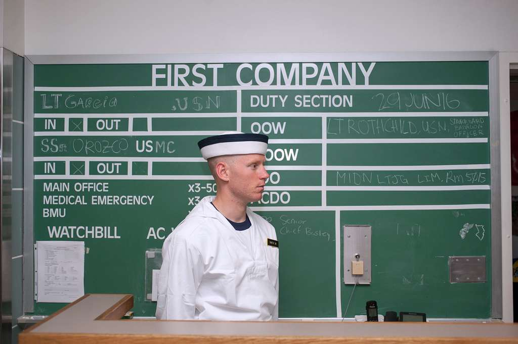 A plebe at the U.S. Naval Academy (USNA) stands watch for the first time in Bancroft Hall during induction day (I-day) 2016.